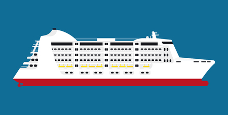Big spacious white cruise liner isolated cartoon illustration