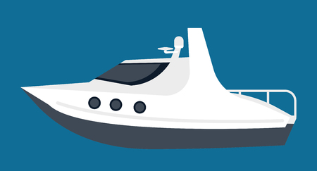 Small white yacht for pleasant sea walks isolated illustration