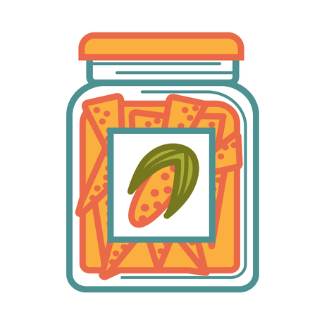 hermetic: Jar with delicious canned corn isolated cartoon illustration