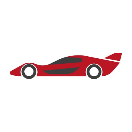 Speed modern red car with spoiler isolated illustration Illustration