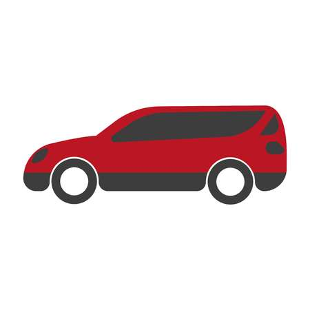 Spacious red family car with big trunk isolated illustration