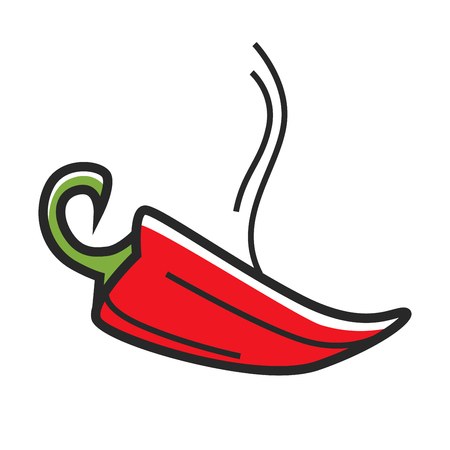 Red hot chili peper with steam isolated illustration