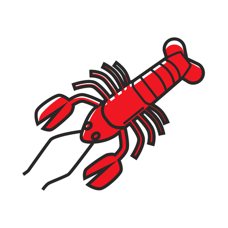 big: Big red delicious sea lobster isolated cartoon illustration