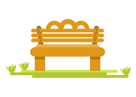Wooden bench on green piece of grass isolated illustration