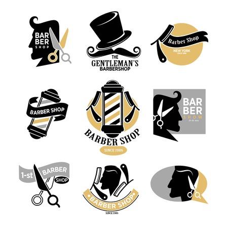 barbershop: Exclusive gentlemans barbershop stylish isolated logotypes set Illustration