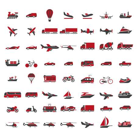 freight train: Vehicles of all kinds big illustrations set in red colors