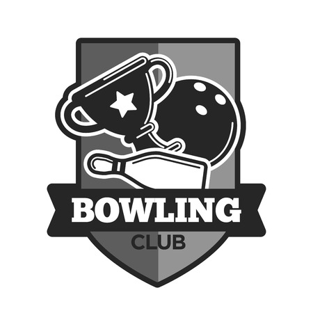 cup: Bowling club vector icon template