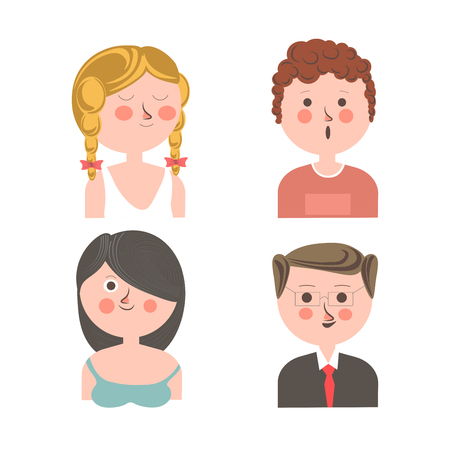 Cute people with different emotions