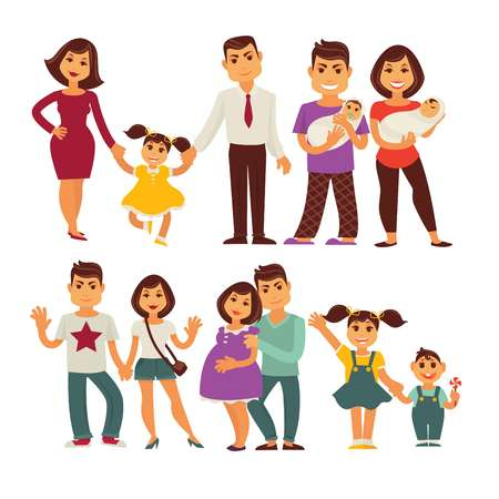 Family mother, father and children flat icons set