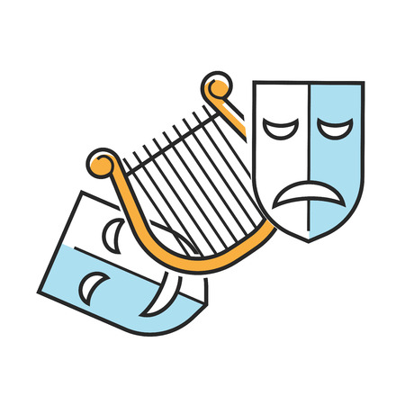 Sad and happy theater masks Illustration