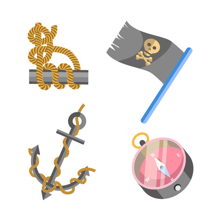 Marine nautical equipment and ship vector icons set
