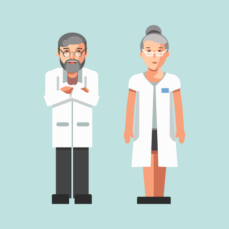 Medical workers or hospital doctors man and woman Illustration