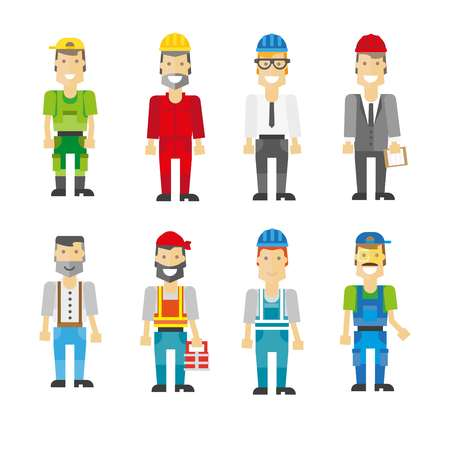 Construction workers in helmets and uniforms illustrations set
