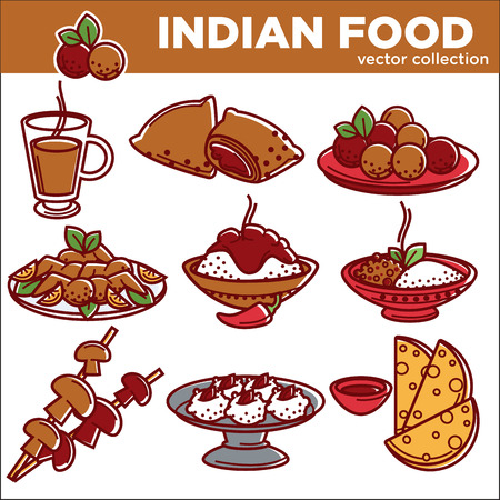 Indian cuisine traditional food dishes vector flat icons set