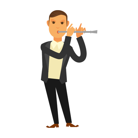 Man in suit playing flute