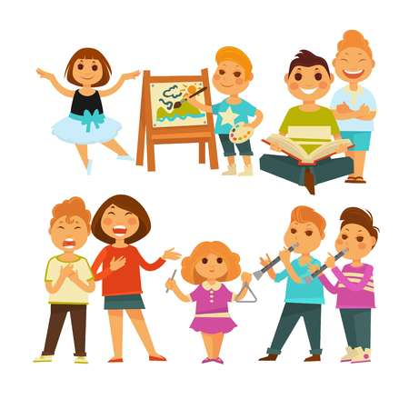 Children in kindergarten or school. Girls and boys playing games at lessons of singing, drawing and dancing. Child with musical instrument or reading book and painting picture. Vector flat icons set