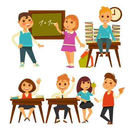 schooltime: Children in school learning lessons vector flat isolated icons