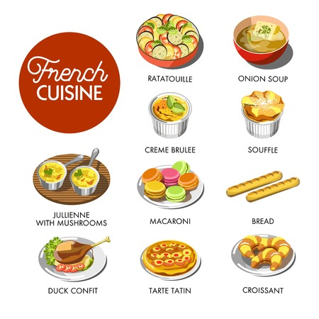 Vector illustration of different dishes of French cuisine. Illustration