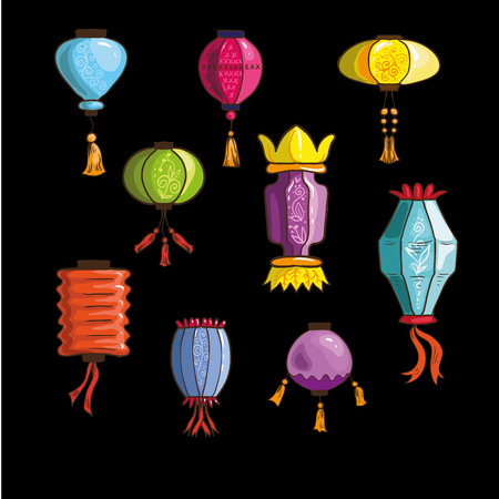 Set of colorful chinese, japanese and korean lanterns. Traditional oriental decoration. Collection of paper sky lanterns. Feng Shui symbol of asian culture. Vector illustration isolated .