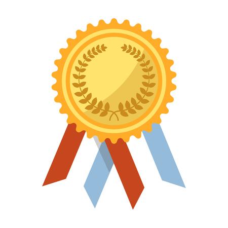 Goldmedaille mit Lorbeerkranzstich, gewelltem Rand und bunten Bändern lokalisierte Vektorillustration auf weißem Hintergrund. Ehrbare glänzende Auszeichnung, die auf der Brust befestigt wurde, um im Wettbewerb zu gewinnen. Standard-Bild - 83357737