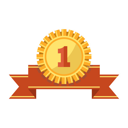 First place gold medal with ribbed edge, engraved number and ribbon isolated cartoon flat vector illustration on white background. Honorable shiny reward for prize place in sport tournament. Illustration