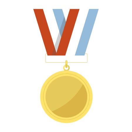 Empty golden medal hangs on striped ribbon illustration.
