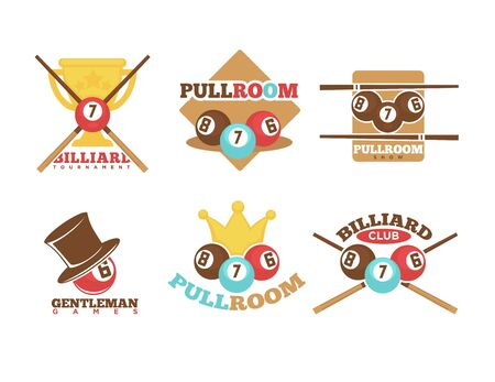 pool cues: Pool or billiards vector icons or templates set of cues and balls for poolroom game club contest.