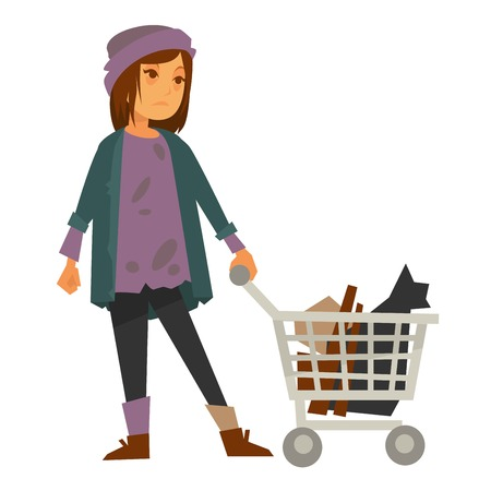 Sad homeless woman in stained sweater with metal cart Illustration