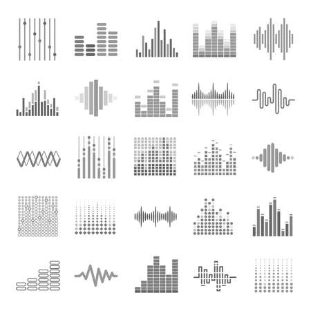 bar: Music equalizer icons set. Audio wave scales or sound volume graphs. Vector isolated bass and treble frequency symbols for internet web musical or dj application