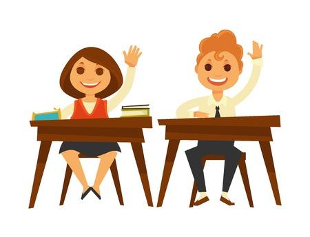 Children sit at wooden desks and raise hands