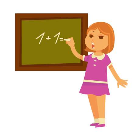 equation: Little redhead girl solves mathematical example at chalkboard