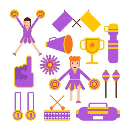 Cheerleaders girls team and sport club cheerleading garments vector flat icons Illustration