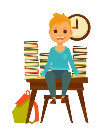 schooltime: Children in school boy sitting at desk with books vector flat icon