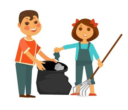 Garçon en t-shirt lumineux et fille en combinaison de denim avec des arcs dans les cheveux à emporter dans un sac à ordures à l'aide d'illustration vectorielle de râteau isolé sur fond blanc. Les enfants nettoient le bazar.