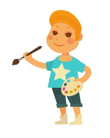 Little redhead boy in T-shirt with star, denim shorts and stylish sneakers stands with palette and brush in hands isolated cartoon vector illustration on white background.