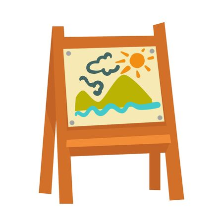Wooden easel with attached childish drawing that has high mountains, blue water, fluffy clouds and bright sun on it isolated cartoon vector illustration on white background.