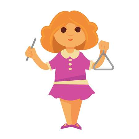 Little curly redhead girl in pink dress plays on musical triangle isolated cartoon vector illustration on white background. Child interested in music uses instrument. Kid develops creative skill.