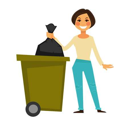 Cheerful woman throws away garbage bag in special bucket Çizim