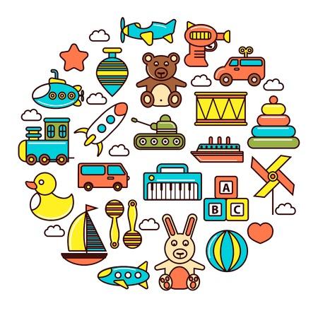 Juguetes para niños o iconos vectoriales de juguetes de niños