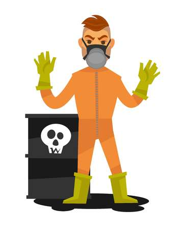 Man in special overalls and mask stand beside container Illustration