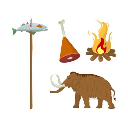 Fish caught on wooden stick, meat on animal leg, mammoth Illustration