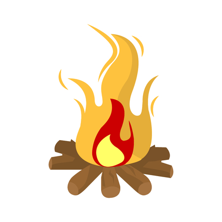 combustion: Burning fire vector illustration isolated on white background. Illustration