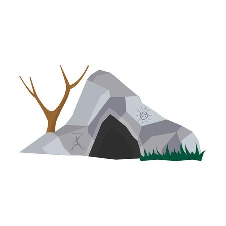 Cueva en casa de piedra para personas prehistóricas con entrada