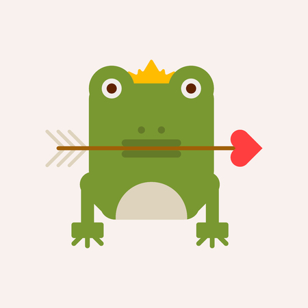 Frog with crown and arrow vector illustration isolated on white background. Green amphibian cartoon character with symbol of love in mouth, fairy tale cartoon pet, bewitched forest creature