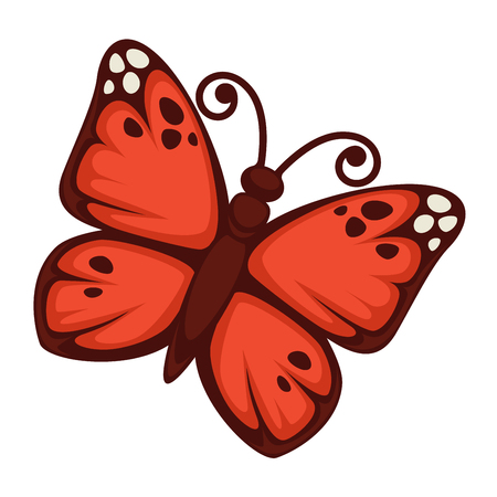 Vector illustration of beautiful butterfly with bright red wings isolated on white.