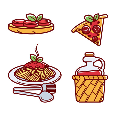 A Vector illustration of pizza, pasta, and red wine isolated on white.