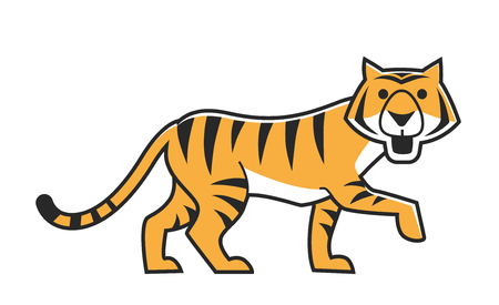 Illustration of cute big striped tiger walking isolated on white. Illustration
