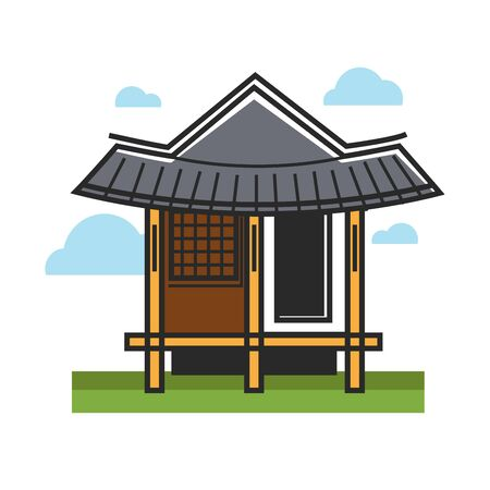 A Vector illustration of traditional eastern wooden building. Illustration