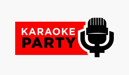 vintage background: A Vector illustration of retro microphone with karaoke party words isolated on white.