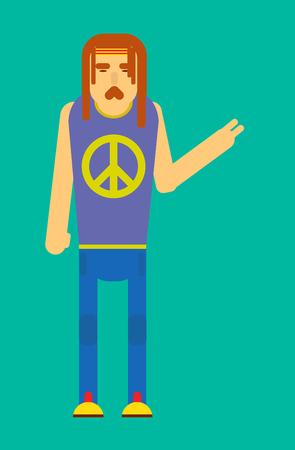 Hippie man gesturing peace